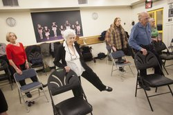 Seniors work out at John David's fitness class at the 92nd Street Y.