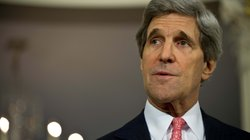 U.S. Secretary of State John Kerry speaks to the press prior to talks with Japanese Foreign Minister Fumio Kishida at the State Department in Washington on Friday.