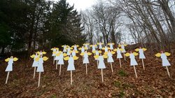 Wooden angels memorialize the victims of Adam Lanza's shooting spree in Newtown, Conn., last December. An upcoming