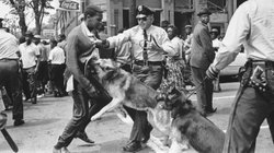 A young demonstrator is attacked by a police dog in Birmingham, Ala., in May of 1963. Scenes like these helped usher in the nation's landmark civil rights law, the 1965 Voting Rights Act. The Supreme Court will hear arguments Wednesday over a key provision of the law.