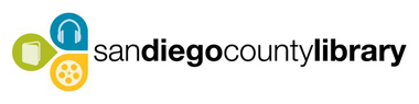 Logo for San Diego County Library, website will open in new window