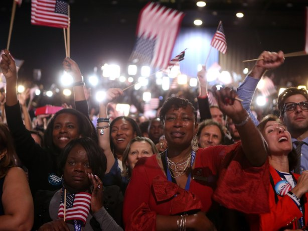 Supporters cheer as President Barack Obama delivers his victory speech in Chicago.