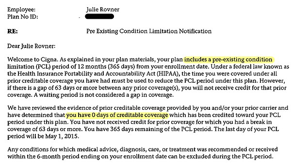 Cigna's letter to Julie Rovner saying she had no proof of past coverage, so l...