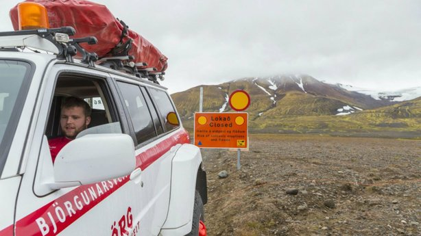 A view of a road closure to the Vattnajokull glacier, the site of the Bardarbunga volcano under the Dyngjujokull ice cap in Iceland, on Sunday. Scientists had worried that the volcano might spew steam and ash, but say now that it appears to have quieted.