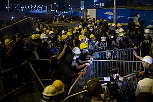 Hong Kong Police Push Back Pro-Democracy Protesters