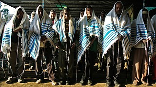 Jewish worshipers gather at a makeshift synagogue established by the Jewish Agency for Israel for Ethiopian Jews in Gondar, Ethiopia, on Nov. 19, 2012.