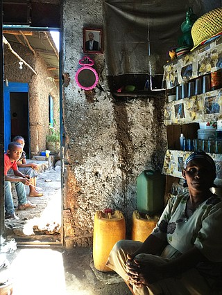 Gezahegn Derebe's mother Ayelesh (shown here in their home) doesn't understand her son when he speaks Hebrew — which he learned at a school run by the Jewish Agency for Israel in Gondar.