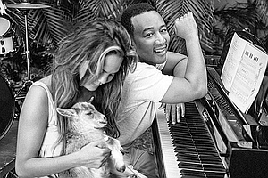 Look Who's Hanging Out With A Goat! It's Supermodel Chris...