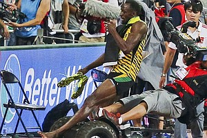 Usain Bolt Is Knocked Over By Segway-Riding Cameraman Aft...