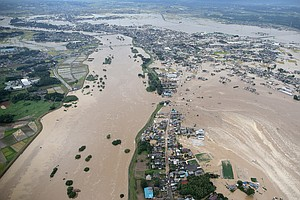 Japanese River Levee Fails; Flooding Spurs Evacuation Order For 130,000