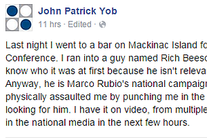Two Political Operatives Walk Into A Bar... And One Throws A Punch