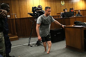Pistorius Walks Without His Prosthetic Legs In Dramatic Show At Sentencing He...