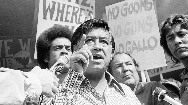 Cesar Chavez, the head of the United Farm Workers Union, calls for the resign...