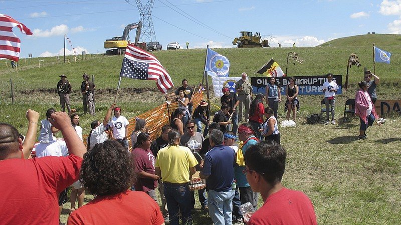 Native Americans held a protest against the Dakota Access oil pipeline near t...