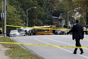 School Bus Hits Car, Pillar And Commuter Bus In Baltimore, Killing 6
