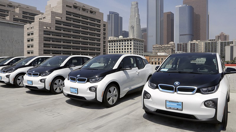 Electric cars are parked at the Los Angeles Police Department in 2016. Califo...