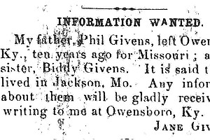 After Slavery, Searching For Loved Ones In Wanted Ads