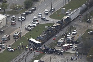 Charter Bus Was Stuck On Tracks When Freight Train Hit It, Witnesses In Bilox...