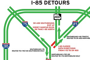 I-85 Bridge Collapse In Atlanta Brings Headache To 250,00...