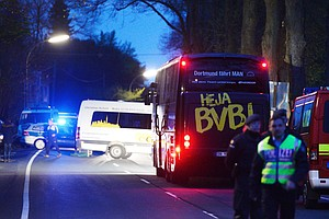 Three Blasts Go Off Near German Soccer Team Bus, Injuring Player