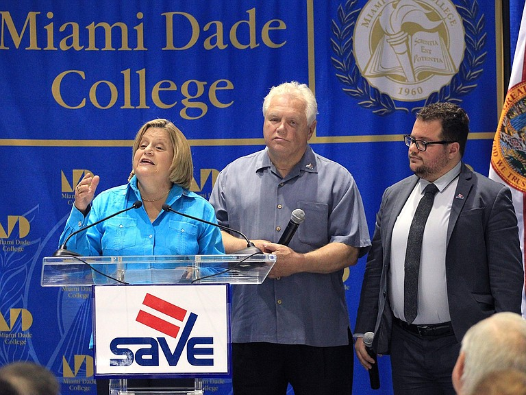 Rep. Ileana Ros-Lehtinen addresses attendees at the launch of a public service announcement about LGBT nondiscrimination that featured her family in 2016. Ros-Lehtinen was the first congressional Republican to publicly support gay marriage, and has been a vocal advocate of LGBT rights.