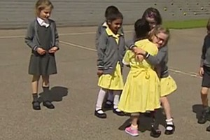 'Is That Your New Pink Leg?!': A Girl Is Embraced As She Shows Off Her Prosth...