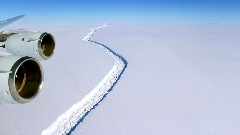 The massive crack first opened up in the Larsen C ice shelf back in 2014; by ...