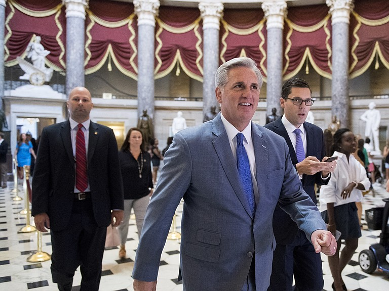 """House Majority Leader Kevin McCarthy says the sanctions will show those who work against America's interests that their """"actions have consequences."""""""