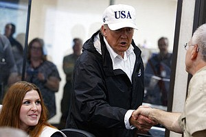Trump Wore USA Hat To Visit Hurricane Zone, And Trump Fan...