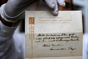 Einstein's Note On Happiness, Given To Bellboy In 1922, F...
