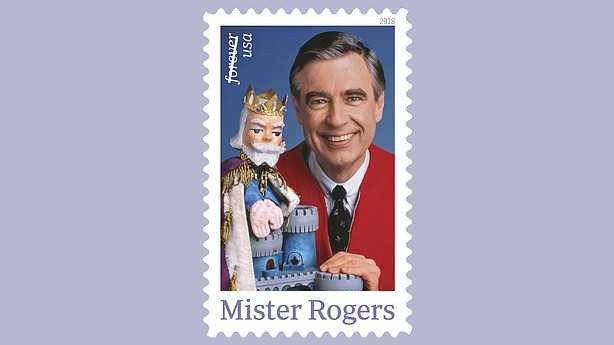 "A forthcoming postage stamp featuring Fred Rogers from the PBS children's television series ""Mister Rogers' Neighborhood"" with his King Friday XIII puppet."