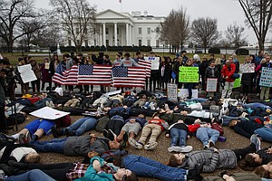 Teens 'Lie In' At White House To Push For Stronger Gun Co...