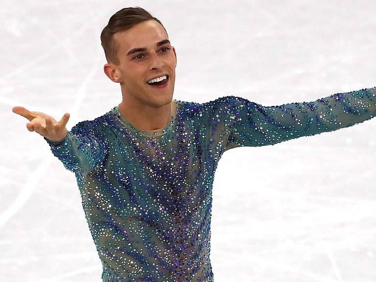 Adam Rippon says he turned down NBC's job offer so he can stay in the Athletes' Village and support his teammates. He's seen here during his free program at Gangneung Ice Arena on Saturday at the Pyeonchang Winter Olympics.