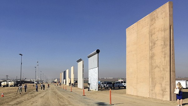Border wall prototypes on display in San Diego, where con...