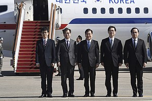 South Korean Delegation Arrives In Pyongyang For Talks Wi...