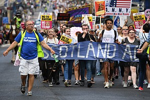 Thousands Turn Out To Protest Against President Trump In Scotland