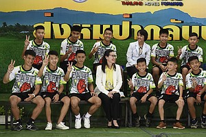 Thai Cave Rescue: Boys And Coach Speak To Press As They L...