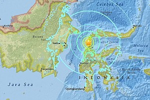 Strong Quake Hits Along Indonesia's Western Sulawesi Island