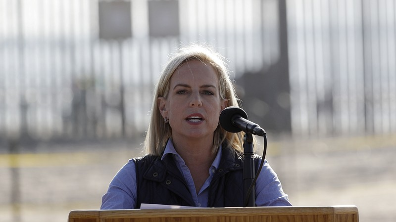 Secretary of Homeland Security Kirstjen Nielsen speaks in front of the border...