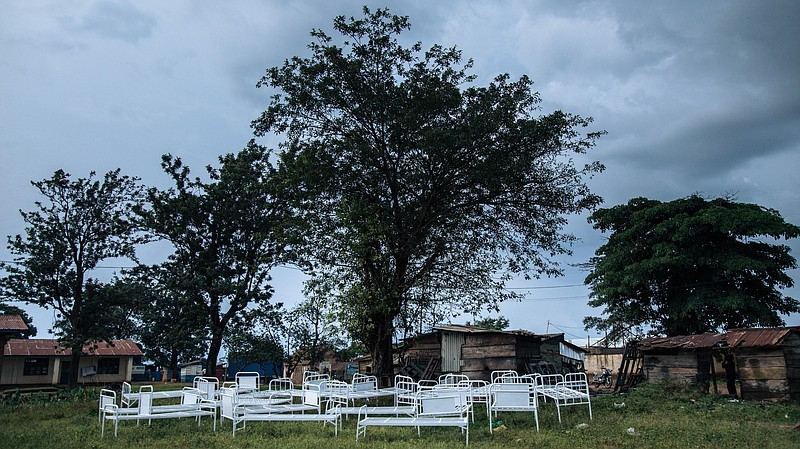 Photo caption: Demonstrators ransacked this Ebola transit center in Beni in  the Democratic R.