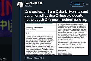 Duke Professor Is Sorry For Urging Chinese Students Not T...