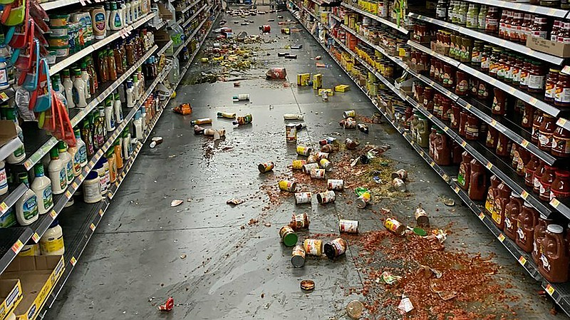 Food that fell from the shelves at a Walmart following an earthquake in Yucca...