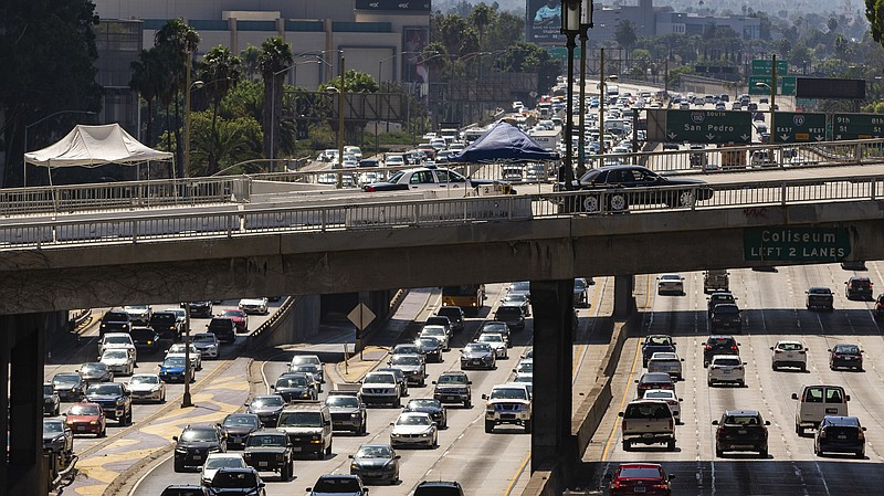 A view over the Harbor Freeway in Los Angeles on Tuesday. President Trump say...