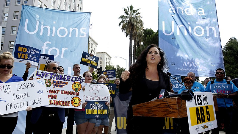 Assemblywoman Lorena Gonzalez, D-San Diego, speaks at an August 28 rally in S...