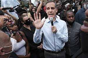 Amid Protests Against Police Violence LA Mayor Eric Garcetti Announces Cuts T...