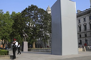 Statue Of Winston Churchill Is Covered Up In London