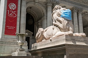 Famous New York Public Library Lions Mask Up To Set An Example