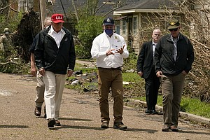 President Trump Visits Areas Hardest Hit By Hurricane Laura