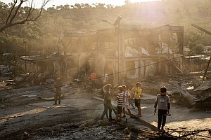 Fires Gut Europe's Largest Migrant Camp On The Greek Island Of Lesbos