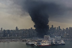Huge Fire At Beirut's Port Causes Panic Following Last Month's Explosion